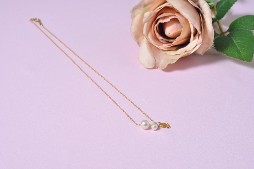 スマイリーネックレス(two pearls)