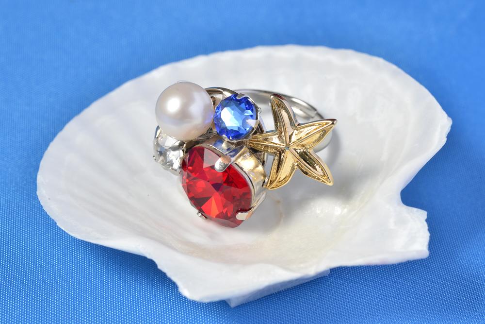 海の宝石リング(red)