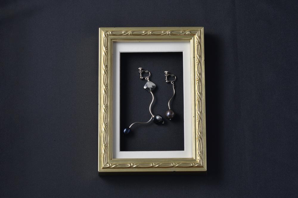 淡水真珠デザインイヤリング